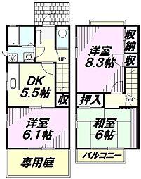 [テラスハウス] 東京都八王子市めじろ台2丁目 の賃貸【東京都 / 八王子市】の間取り