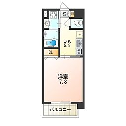 アール大阪リュクス 6階1DKの間取り