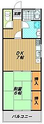 兵庫県神戸市長田区苅藻通6丁目の賃貸アパートの間取り