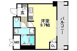 パークナードフィット吹田健都 7階ワンルームの間取り