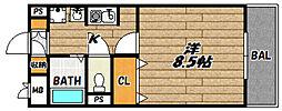 JR福知山線 川西池田駅 徒歩7分の賃貸マンション 3階1Kの間取り