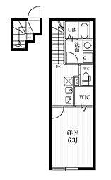 ミハス三鷹台 2階1Kの間取り