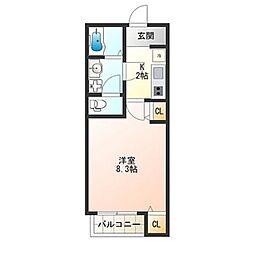 Osaka Metro四つ橋線 花園町駅 徒歩3分の賃貸アパート 1階1Kの間取り