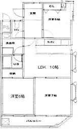 大平ビル 2階3LDKの間取り