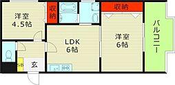 ナカノハイツパート5 4階2LDKの間取り