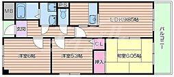 JR東海道・山陽本線 岸辺駅 徒歩16分の賃貸マンション 3階3LDKの間取り
