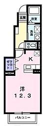 アルタ・スタジョーネB 1階ワンルームの間取り