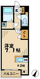 京王相模原線 多摩境駅 徒歩15分の賃貸アパート 1階1Kの間取り
