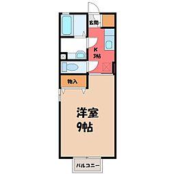 茨城県古河市茶屋新田の賃貸アパートの間取り