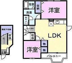 クレストール上野 B[2階]の間取り