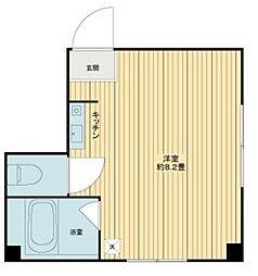 TU CASA 神楽坂 2階ワンルームの間取り