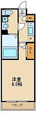 GENOVIA世田谷砧green veil 2階1Kの間取り