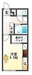 愛知県豊川市末広通1丁目の賃貸アパートの間取り