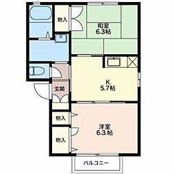 新潟県新発田市御幸町4丁目の賃貸アパートの間取り