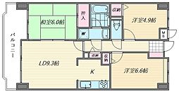香椎東映マンション[5階]の間取り