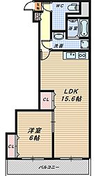 大阪府堺市堺区宿院町東4丁の賃貸マンションの間取り
