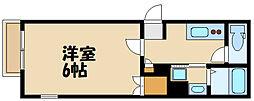 京王線 府中駅 徒歩14分の賃貸マンション 1階1Kの間取り