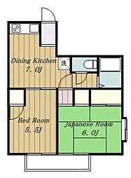 東京都日野市南平3丁目の賃貸アパートの間取り
