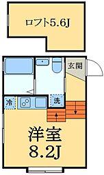 JR京葉線 稲毛海岸駅 徒歩12分の賃貸アパート 2階ワンルームの間取り