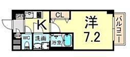 トレフル立花 8階1Kの間取り