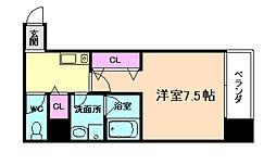 JR東西線 海老江駅 徒歩7分の賃貸マンション 5階1Kの間取り
