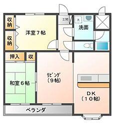 愛知県豊橋市中岩田3丁目の賃貸アパートの間取り