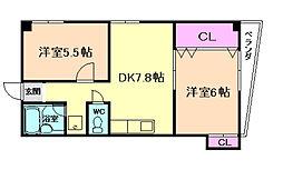 増田中桜塚マンション[3階]の間取り