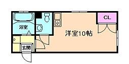 ロフト5ビル 1階ワンルームの間取り