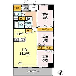 福岡市地下鉄七隈線 天神南駅 徒歩4分の賃貸マンション 4階3LDKの間取り