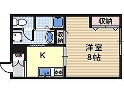 大阪府大阪市東住吉区矢田6丁目の賃貸マンションの間取り