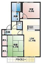シャーメゾン米田B[2階]の間取り