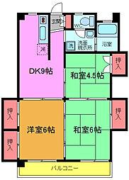 千葉県松戸市三矢小台4の賃貸マンションの間取り