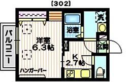 Haus1319N 3階1Kの間取り