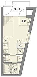 梅ヶ丘アパートメント 1階ワンルームの間取り