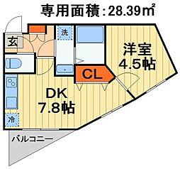 JR外房線 蘇我駅 徒歩3分の賃貸マンション 3階1DKの間取り