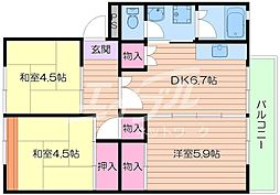 UR箕面粟生第3 9号棟[3階]の間取り