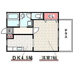 兵庫県神戸市西区白水1丁目の賃貸アパートの間取り
