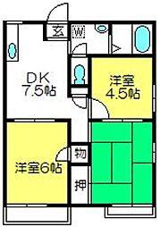 埼玉県さいたま市見沼区深作2丁目の賃貸アパートの間取り