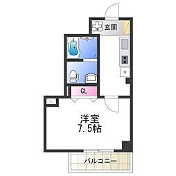 Osaka Metro谷町線 阿倍野駅 徒歩2分の賃貸マンション 5階1Kの間取り