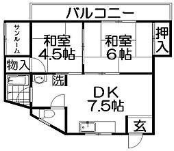 丸強マンション[4階]の間取り