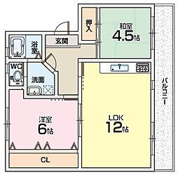 山田池住宅6号棟[4階]の間取り