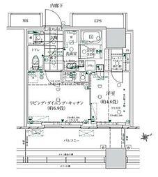 ローレルタワー ルネ浜松町 3階1LDKの間取り