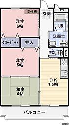 長野県諏訪市大字中洲の賃貸マンションの間取り
