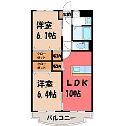 栃木県栃木市大町の賃貸マンションの間取り