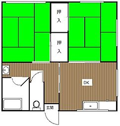 第2みのはら荘[1号室]の間取り