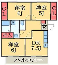 千葉県市原市西国分寺台1丁目の賃貸アパートの間取り