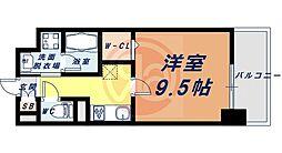 Osaka Metro四つ橋線 花園町駅 徒歩13分の賃貸マンション 2階1Kの間取り