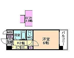 エステムコート梅田茶屋町デュアルスペース[4階]の間取り