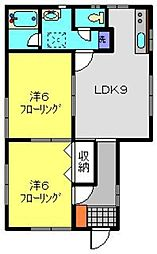 神奈川県横浜市港北区下田町1丁目の賃貸アパートの間取り
