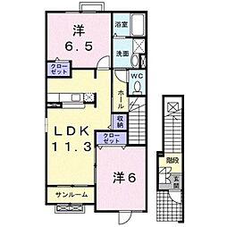 フリーデ石井II[2階]の間取り